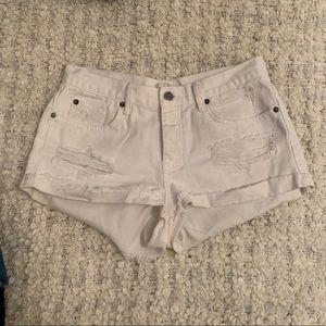 Amuse society white denim shorts